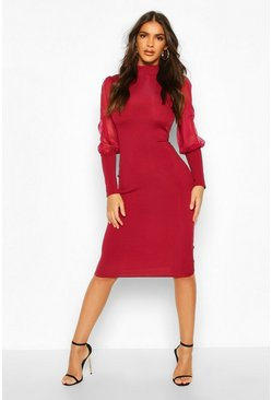 Womens Wine Turtle Neck Rib Dress With Mesh Sleeves