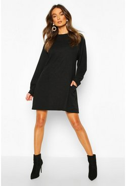Black Crew Neck Panel And Pocket Front Dress