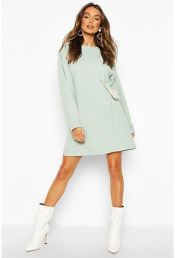 Womens Mint Crew Neck Panel And Pocket Front Dress