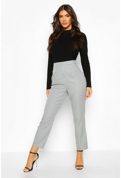 Blue Woven Dogtooth Check Tapered Trouser