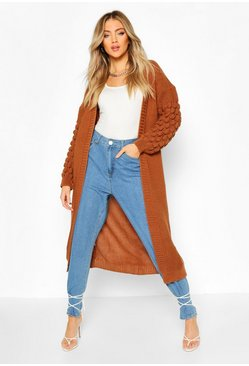 Toffee Bobble Knit Maxi Cardigan