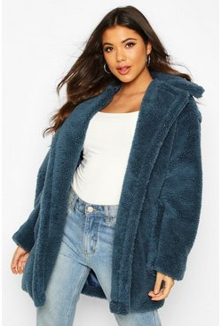 Womens Teal Oversized Teddy Faux Fur Coat