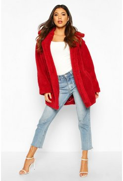 Womens Wine Oversized Teddy Faux Fur Coat