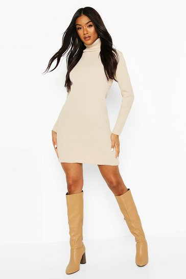 Stone Rib Knit Roll Neck Long Sleeve Midi Dress