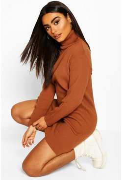 Toffee Rib Knit Roll Neck Long Sleeve Midi Dress
