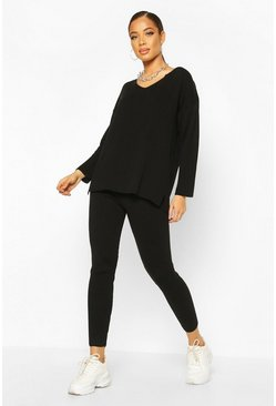 Black V Neck Knitted Lounge Set