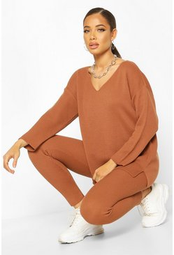 Toffee V Neck Knitted Lounge Set
