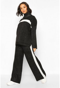Black Premium Knitted Roll Neck Set
