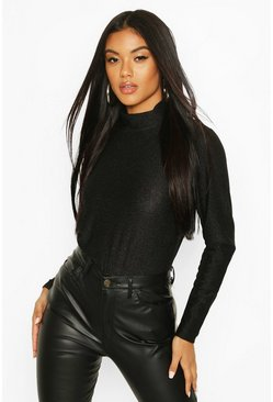 Black Metallic Roll Neck Top