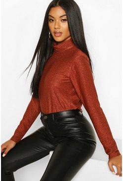 Copper Metallic Roll Neck Top