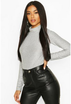 Silver Metallic Roll Neck Top