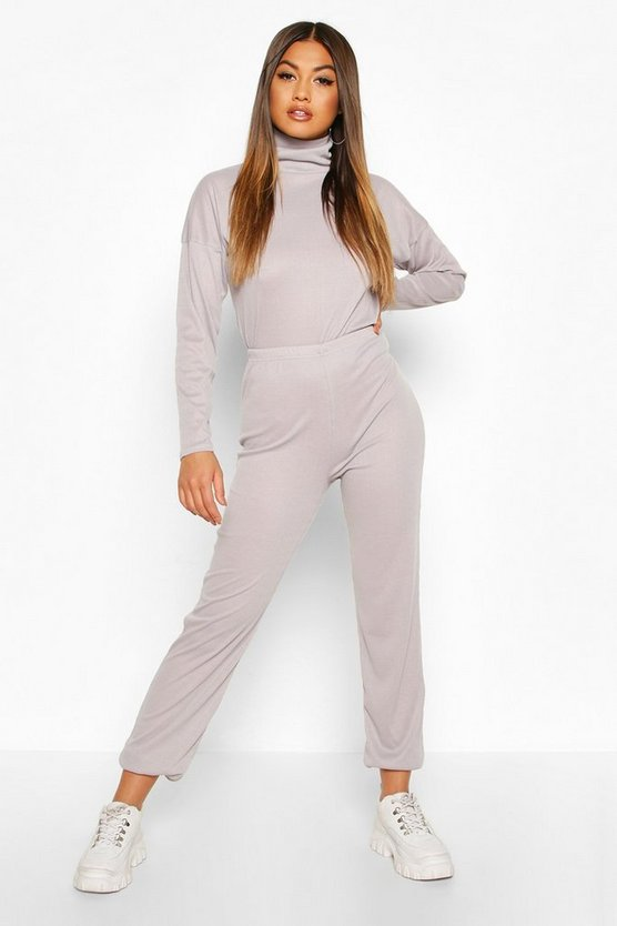 Grey Rib Knit Roll Neck Lounge Set