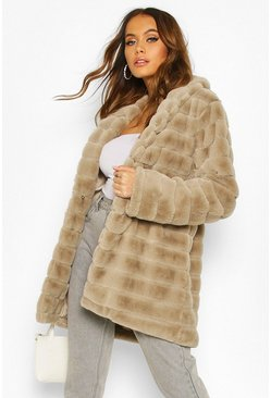 Grey Panelled Faux Fur Coat