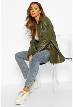 Womens Khaki Faux Leather Utility Jacket