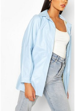 Pastel blue Faux Leather Utility Jacket