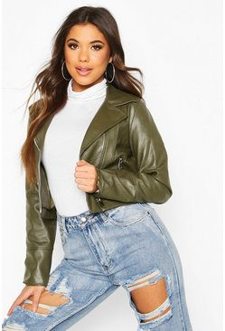 Womens Khaki Faux Leather Biker Jacket
