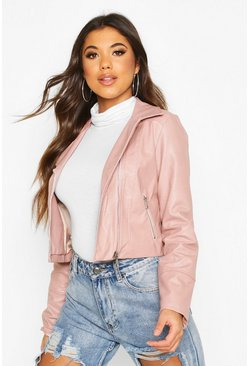 Stone Faux Leather Biker Jacket