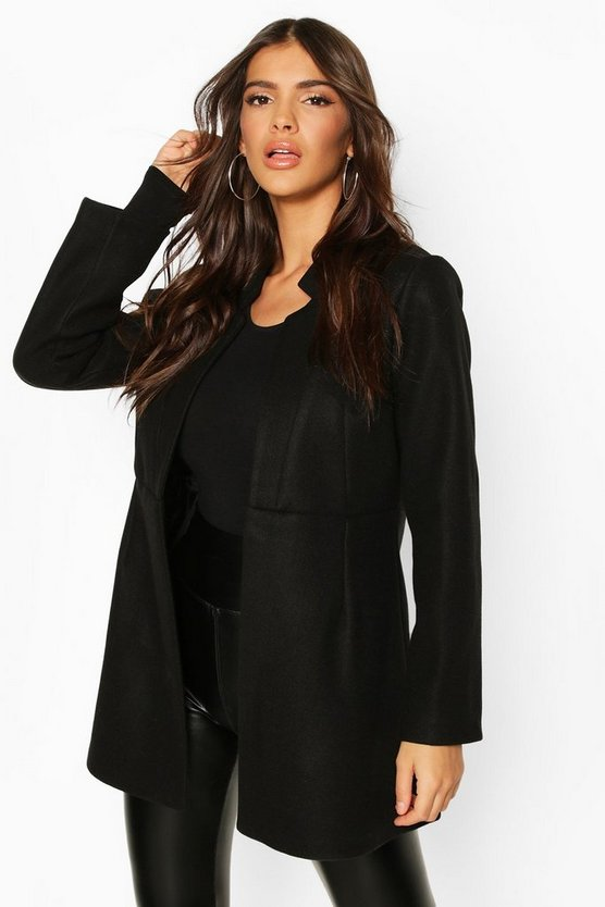 Womens Black Notch Neck Edge To Edge Wool Look Coat