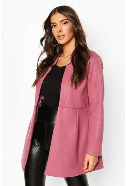 Womens Lilac Notch Neck Edge To Edge Wool Look Coat