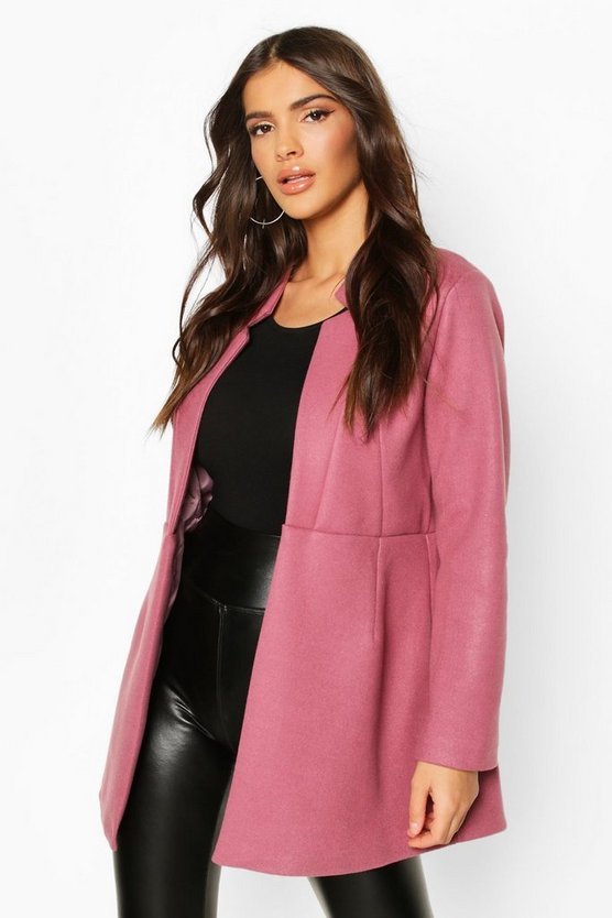 Notch Neck Edge To Edge Wool Look Coat