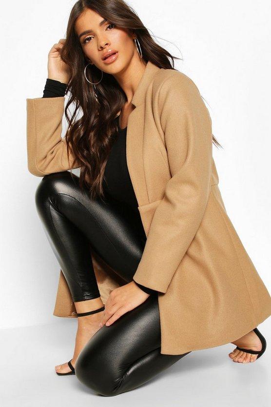 Notch Neck Edge To Edge Wool Look Coat