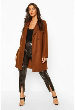 Womens Chocolate Double Breasted Wool Look Coat