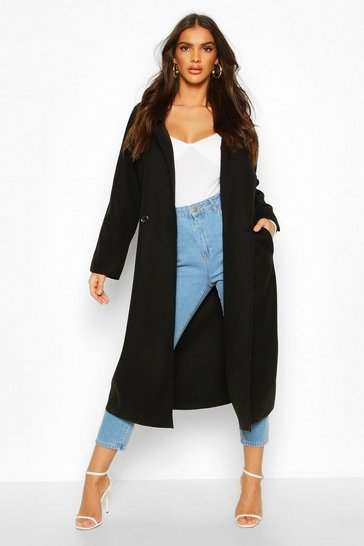 Womens Black Double Breasted Wool Look Trench