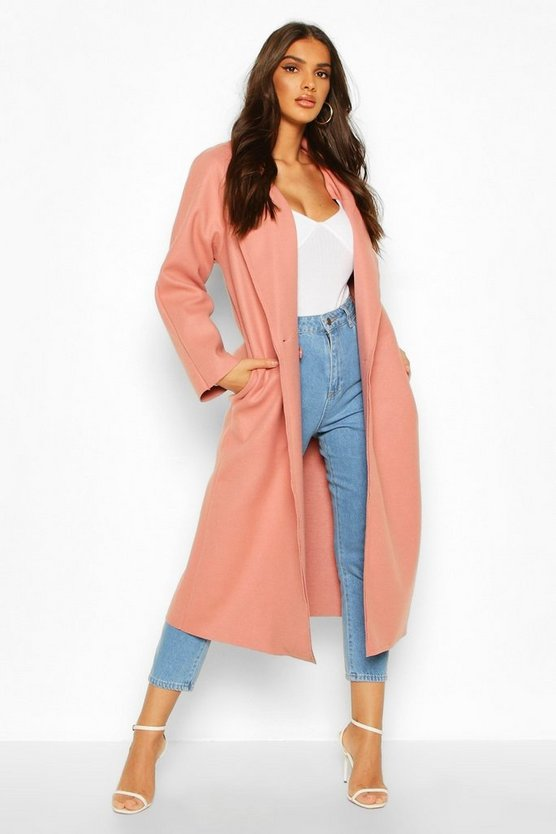 Dusky pink Double Breasted Wool Look Trench