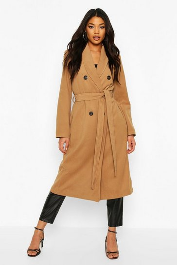 Camel Textured Double Breasted Wool Look Coat