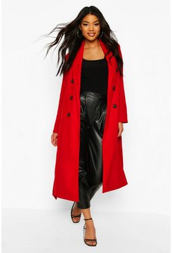 Red Textured Double Breasted Wool Look Coat