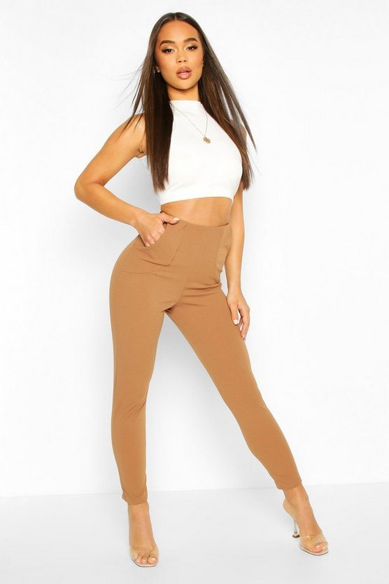 Camel Tapered Leg Pants With Pocket Detail