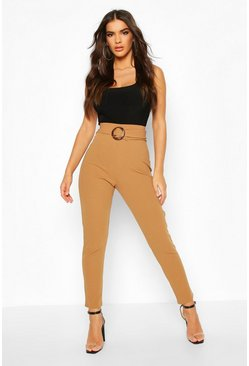 Mocha Tapered Leg Trouser With Tie Belt & Buckle