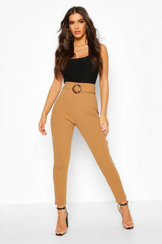 Tapered Leg Trouser With Tie Belt & Buckle