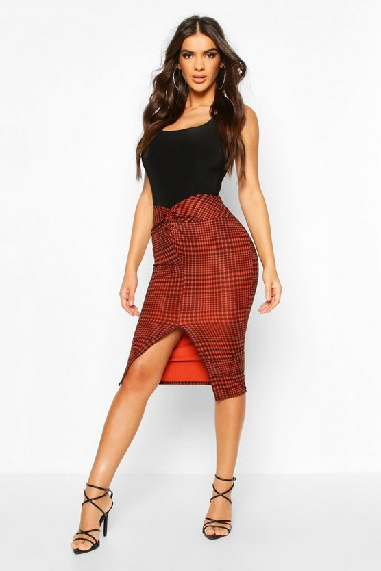 Jersey Check Midi Skirt With Front Slit