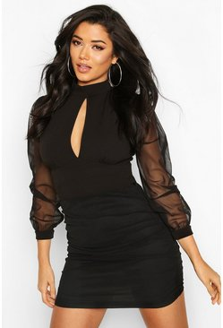 Black Turtle Neck Pleated Mesh Sleeve Detail Top