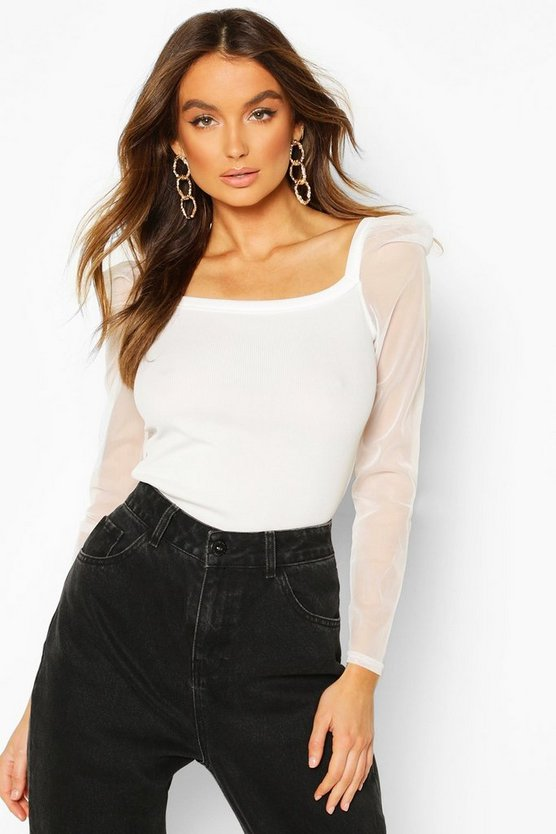 Cream Rib Mesh Top With Square Neck
