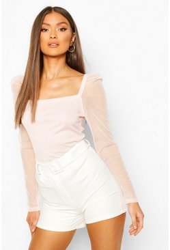 Crystal pink Rib Mesh Top With Square Neck