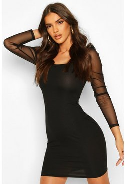 Black Rib Mesh Mini Dress