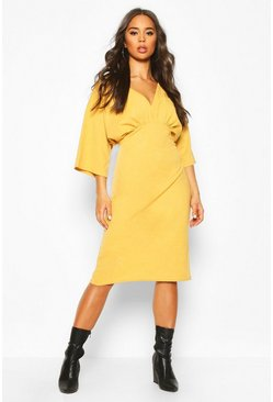 Womens Mustard V Neck Drop Shoulder Midi Dress