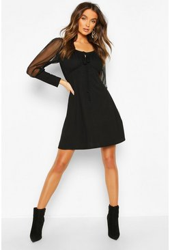 Black Gypsy Skater Dress With Mesh Sleeves And Deep Cuff
