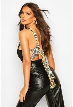 Black Feature Print Tie Back Body