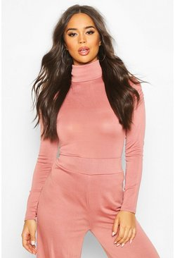 Rose Roll Neck Top With Feature Sleeve