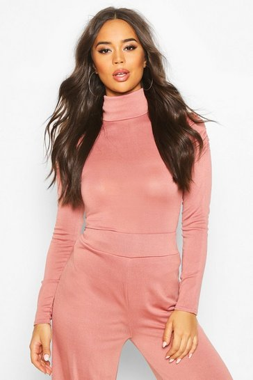 Womens Rose Roll Neck Top With Feature Sleeve