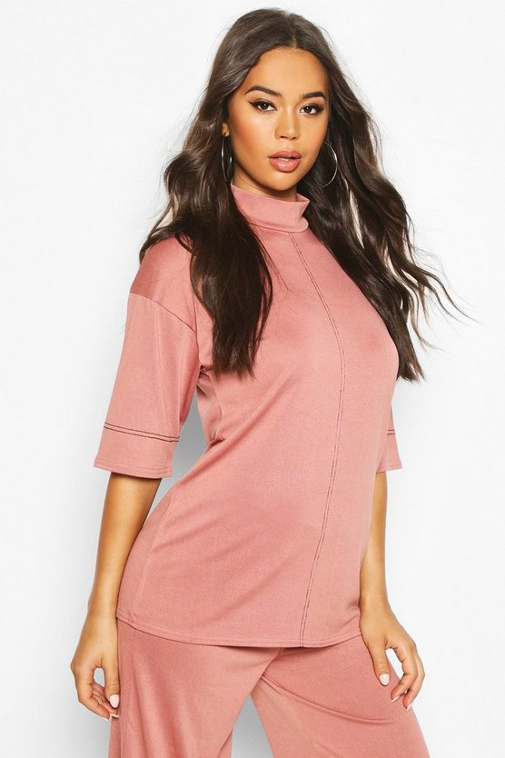 Rose Turtle Neck Top With Contrast Stitching