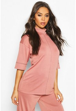 Womens Rose Turtle Neck Top With Contrast Stitching