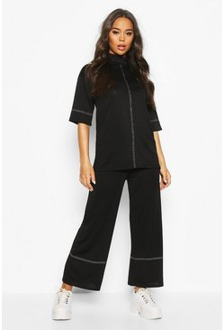 Black High Waisted Culottes With Contrast Stitching