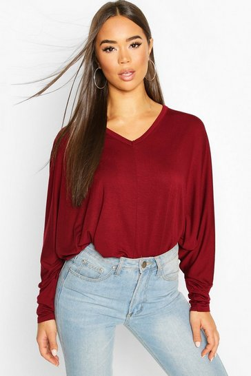 Womens Berry Loose Fitting Boxy Top