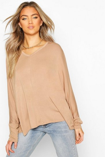 Camel Loose Fitting Boxy Top