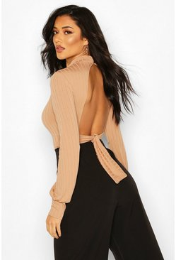 Camel Turtle Neck Tie Back Top With Keyhole Front