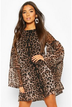 Brown Leopard Mesh Smock Dress